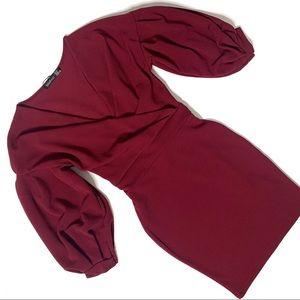Boohoo long sleeve maroon party dress
